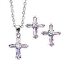 Pink Crystal Cross Earrings and Pendant