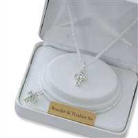 First Communion Crystal Cross Pendant and Bracelet