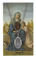 St Anne Patron Saint Pewter Medal & Prayer Card