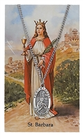 St Barbara Patron Saint Pewter Medal & Prayer Card