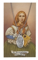 St Dymphna Oval Pewter Patron Saint Medal & Prayer Card