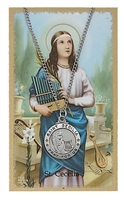 St. Cecelia Round Patron Saint Medal & Prayer Card