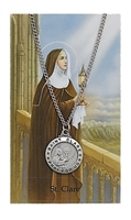 St. Clare Round Patron Saint Medal & Prayer Card