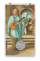 St. Genesius Round Patron Saint Medal & Prayer Card