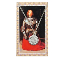 St. Joan of Arc Round Patron Saint Medal & Prayer Card