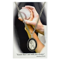 Baseball St. Chistopher Medal Prayer Card Set