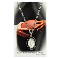 Football St. Chistopher Medal Prayer Card Set