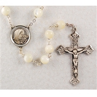 8MM Mother of Pearl Sterling Silver Rosary
