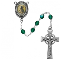 Saint Brigid of Ireland rosary with green beads, an image of St. Brigid for a rosary center and a pewter celtic crucifix. Gift boxed.