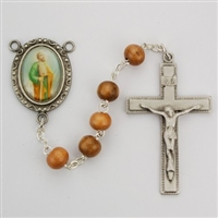 Saint Patrick rosary has green wood beads and an image of St. Patrick for a rosary center and a pewter crucifix. Gift boxedSaint Paul rosary has olive wood beads and an image of St. Paul for a rosary center and a pewter crucifix. Gift boxed