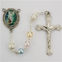 Guardian Angel rosary has pearl beads and an image of the Guardian Angel crossing over the bridge for a rosary center and a pewter crucifix. Gift boxed