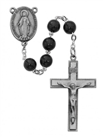 7MM Black Wood Sterling Silver Rosary