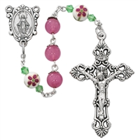 8mm Round Pink Rosary