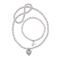First Communion Pearl Necklace and Bracelet Set
