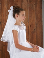Back Bows w Haircomb First Communion Veil
