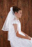 SATIN/SHEER ROSEBUDS W/HAIRCOMB FIRST COMMUNION VEIL