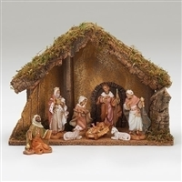 Fontanini Nativity 8 Piece with Italian Stable