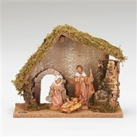 Fontanini Nativity 3 Piece with starter Stable