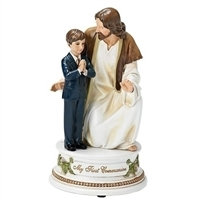 First Communion Statue Praying Boy with Jesus Musical