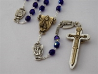 Warrior Rosary 7MM Blue Bohemian Glass Female Saints