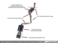 AWE Tuning A4 Touring Edition Exhaust - Single Exit/Dual Tip