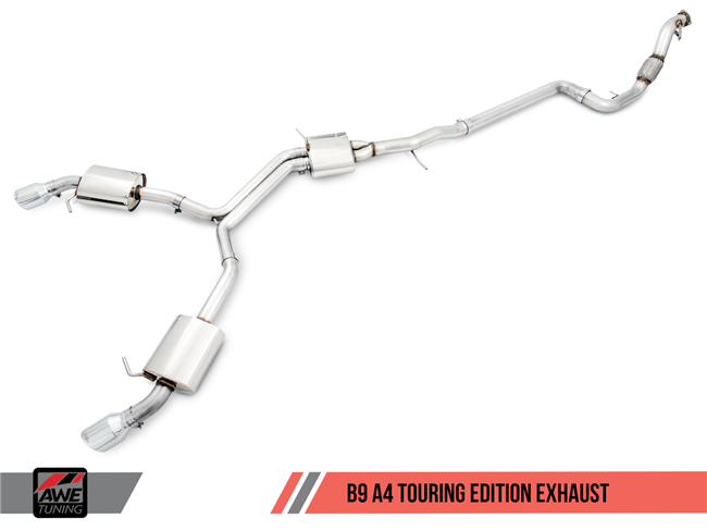 AWE Tuning B9 A4 Touring Edition Exhaust, Dual Outlet - (includes DP)