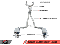 AWE SwitchPath Exhaust System for Mercedes-Benz W205 AMG C63/S Coupe - Non-Dynamic Performance Exhaust cars (no tips)