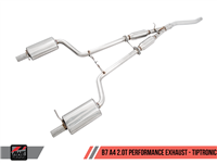 AWE Tuning B7 A4 2.0T Quattro Dual Exit/ Single Tip Exhaust - No Downpipe - For Tiptronic Cars