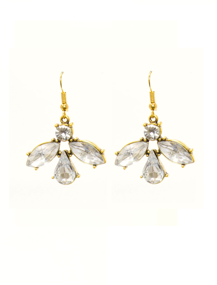 Clear Large Stones Drop Earrings 14k Gold Plated Fashion Jewelry Luxury Crystal