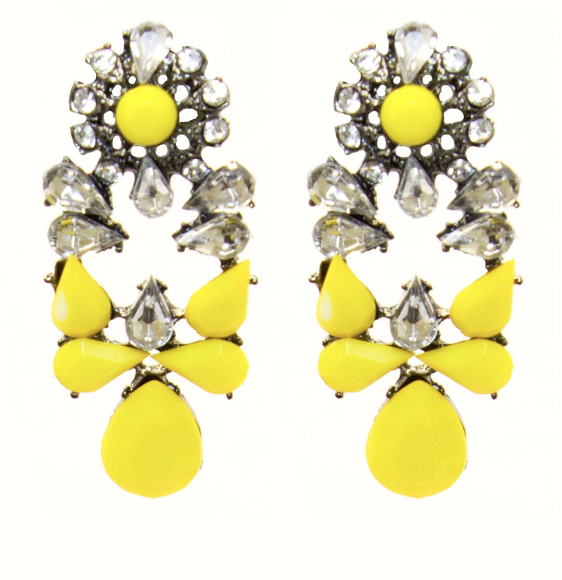 Yellow Le Statement Earrings With Shiny Stones