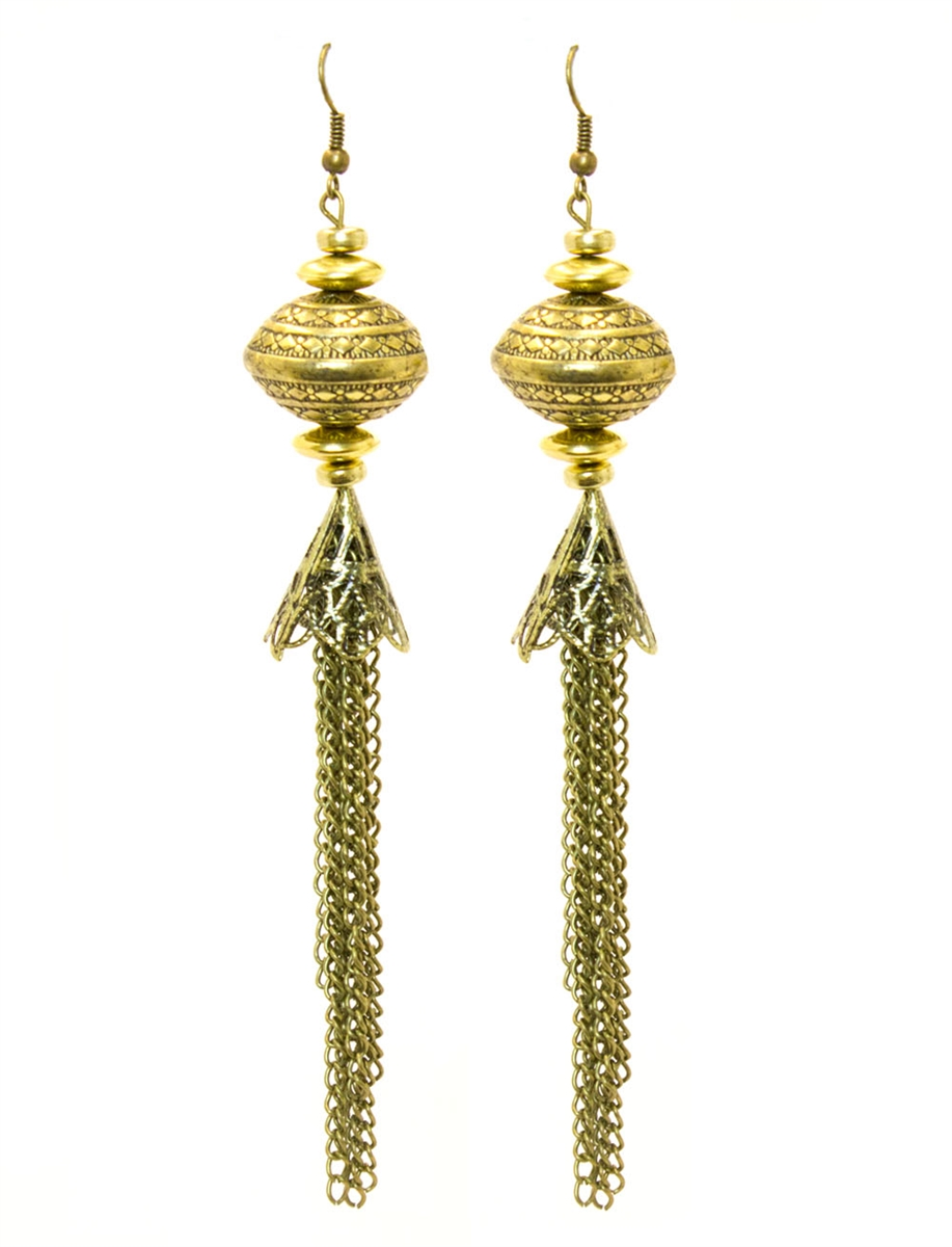 37b88f366 Bohemian Gold Dangle Earrings, Vintage Looking Earrings, Handmade Earrings,  Dangle Gold Earrings, Bohemian Style Earrings