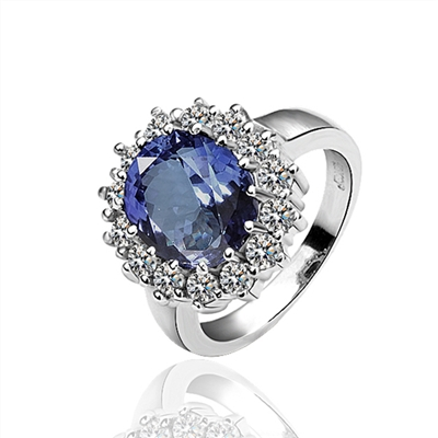 Classic Ring With Blue Stone, Luxury ring, Blue and Clear Crystal Ring, Fashion Ring, Statement Ring