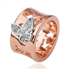 Two Tone Butterfly Ring, Rose Gold Butterfly Ring, Fashion Rose Gold Ring, Ring With Butterfly Design
