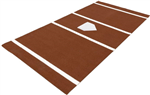 6' x 12' Home Plate / Batter's Box Baseball Stance Mat - Red Clay