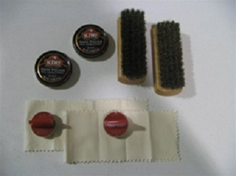 KIWI shoe shine box supplies kit