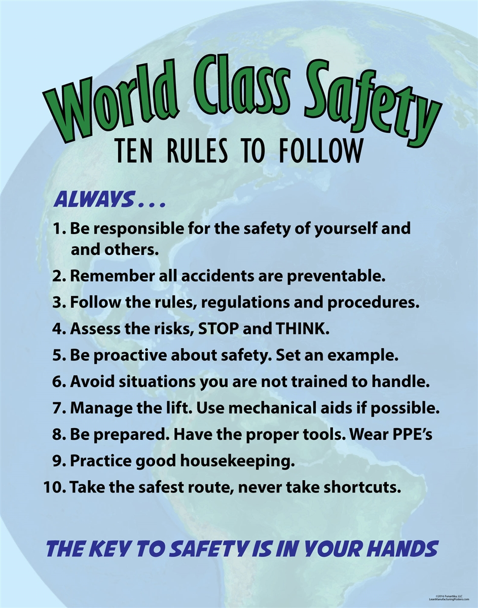 Rules For A Girls Bedroom: WORLD CLASS SAFETY Poster
