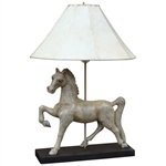 Carved Wooden Horse Lamp