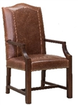 Aston Leather Arm Chair w Brass Nails