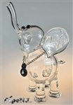 Flame Princess Glass Large Clear Elephant w/ Chain