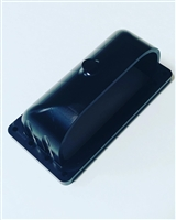 Burst Panel Deflector Scoop. Designed to divert the air up or down when the burst panel goes off. Anodized black.