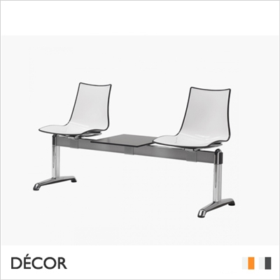 ZEBRA BICOLOUR BENCH, 2 SEATS WITH TABLE