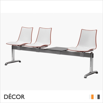 ZEBRA BICOLOUR BENCH, 3 SEATS WITH TABLE
