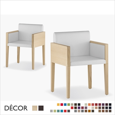 BOX DINING CHAIR, WOOD, 4 LEGS, ECO LEATHER, FABRIC, WOOL