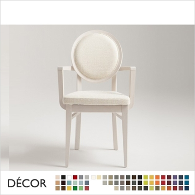 DAFNE CHAIR WITH ARMRESTS, ECO LEATHER & DESIGNER FABRICS