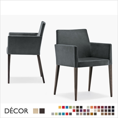 DRESS CHAIR WITH ARMRESTS, ECO LEATHER, FABRIC, WOOL