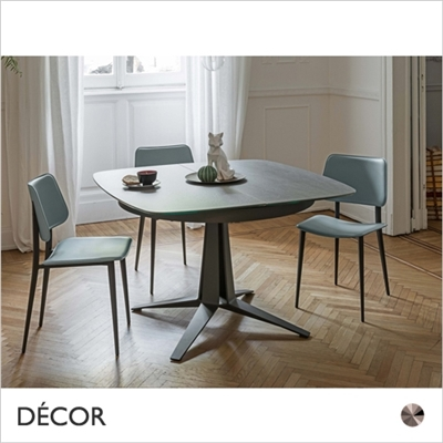 LINK EXTENDING DINING TABLE, ROUNDED SQUARE