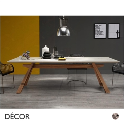 ZEUS DINING TABLE, WOOD, CERAMIC TOP