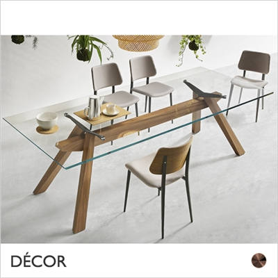 ZEUS DINING TABLE, WOOD, EXTRA CLEAR GLASS