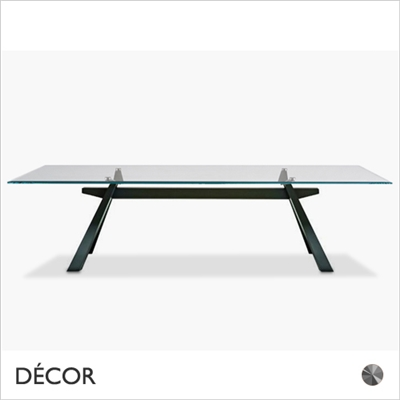 ZEUS DINING TABLE, METAL, CLEAR GLASS TOP