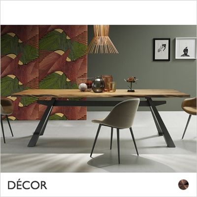 ZEUS DINING TABLE, METAL,  VENEER OR SOLID WALNUT